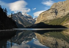 Afternoon on the lake (CNorthExplores) Tags: park travel autumn lake canada reflection water canon rockies day columbia canadian mount robson british provincial g11 kinney explored mountwhitehorn pwpartlycloudy