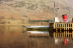 Glenridding Ferry landing. (Trapac) Tags: uk red england lake reflection green water ferry reflections landscape boats boat spring nikon lakedistrict lakeside cumbria mountainside nikkor hillside steamer fell funnel thelakes lakedistrictnationalpark ullswater glenridding ferrylanding wmh ferrystation ullswatersteamers nikkor3570mm 2013 cumbrianmountains d700 nikond700 tracypackerphotography wwwtracypackercom northeasternlakes