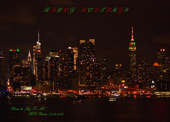 Empire State Buildings 2013 (Part 1 of 5) Christmas Colors & New York City (Manhattan) Skyline from Weehawken NJ:  Midtown Night View (takegoro) Tags: christmas new york skyline skyscrapers state manhattan midtown views chryslerbuilding new city jersey empire hudson building river weehawken