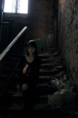 She's Waiting (xbutterfly28x) Tags: lighting light shadow house abandoned window girl stairs pose dark person model stair natural serious little stairway creepy mansion leak desolate snomachine