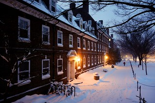 UD's Harter Hall in Snow Storm