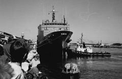 "HMAS ""Success"" berthing at McLaren Wharf on return from Gulf War (paelocalhistory) Tags: transport places tugboat warship royalaustraliannavy portriver seariver hmassuccess"
