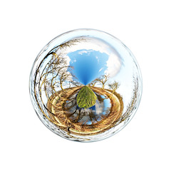 Oasis (Phil W Shirley) Tags: trees sky water pond bedfordshire gimp oasis sphere planet polar mapping coordinates swineshead