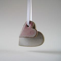 Valentine's hearts (Jude Allman) Tags: pink white ceramic hearts ceramics heart handmade crafts craft jude clay pottery valentines etsy stoneware folksy allman
