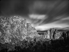 Dark Skies Over Smith Rock (NW Vagabond) Tags: bw rock clouds oregon long exposure smith streaking