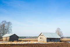 Winter Is Over! (k009034) Tags: blue sky house snow tree beautiful weather barn canon landscape photography eos countryside spring scenery melting warm day north fields warming beautifulearth 50d matkaniva