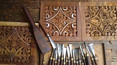 Tools for chiniot wood carving (Raja Islam) Tags: wood pakistan man work hands hand working carving tools carve worker punjab making artisans tool woodcarving craftsmen chiniot lacquered chinniot