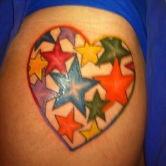 heart and colorful stars hip tattoo designs (tattoos_addict) Tags: tattoo stars colorful heart designs hip startattoo