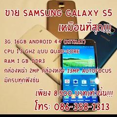 ขาย Samsung Galaxy S5 เหมือนที่สุด!!! 16GB Android 4.4 (KitKat)  CPU 1.3 GHz แบบ Quad-Core  RAM 1 GB. DDR3  กล้องหน้า 2MP กล้องหลัง 13MP autofocus มีครบทุกฟังชั่น  ปลดล๊อคแสกนนิ้วมือ Fingerprint Face Unlock  Air Gesture Power Saving Mode เปลี่ยนหน้าจอเป็น