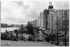 Rainy Day (Brett Huch Photography) Tags: ocean sea bw seascape beach nature water surf waves seascapes australia qld queensland aussie coolangatta wavesbreaking