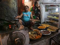 Snackbar (Dick Verton ( more than 13.000.000 visitors )) Tags: travel food india kitchen fire restaurant asia sitting sit varanasi dickverton