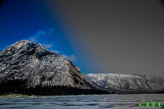 Lake Minnewanka (DKG Images) Tags: life wood trees winter friends sky mountain lake snow canada mountains love ice water wind damien roadtrip explore alberta banff canmore goodyear pastime dkg explored dkgimage dkgimages