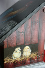 """Hand painted recipe box (sherrylpaintz) Tags: wood original window nature floral barn painting design colorful artist basket natural folk ooak decorative wildlife straw birdhouse style eggs romantic chicks rooster recipes chic hay tablecloth siding custom crackle redbarn acrylicpainting whimsical treasures realism primitive décor realistic crowing recipebox leghorn art"""" artist"""" style"""" """"hand """"wildlife """"folk birdhousepainting """"primitive painted"""" chic"""" """"shabby """"decorative sherrylpaintz """"decorating"""