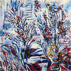 Near Urban White (Tim Noonan) Tags: city blue trees winter white toronto abstract nature painting acrylic gallery pattern shapes exhibition canvas expressionism spadina inclusion brushstroke timnoonan yumart