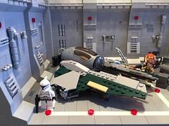 LEGO® Star Wars: Interceptor Starfighter Hangar - 07 (jm_aalen) Tags: star republic space hangar cockpit battle widget spaceship wars gunship interceptor moc starfighter actis greebles eta2 lego® afollu nurbies
