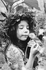 wishes of the wild... (PrideOfTheLilacs) Tags: wild portrait flower nature kids garden children dream portraiture wishes wish dandelions crowns portraitphotography deams