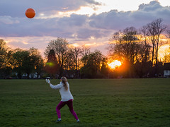 Orange balls on the Downs (wi-fli) Tags: sunset england downs bristol fun unitedkingdom
