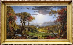 """Autumn On the Hudson River"" by Jasper Francis Cropsey (1860).  Exhibit at the National Gallery of Art, Washington, D.C. (lhboudreau) Tags: autumn trees tree art museum river painting washingtondc smithsonian dc artwork artist gallery paintings rivers painter hudsonriver artmuseum nationalgalleryofart 1860 washinton classicart cropsey jasperfranciscropsey autumnonthehudsonriver classicpainting thenationalgalleryofart"