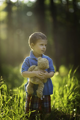 Me and Teddy (Phillip Haumesser Photography) Tags: friends light boy portrait playing color green love boys colors grass mystery kids forest children fun kid woods child play friendship teddy sony 85mm teddybear mysterious imagination magical samyang philliphaumesser