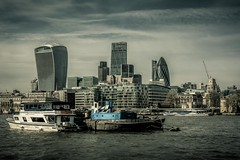 Skyline (James Waghorn) Tags: city england urban london water thames boat spring nikon crane toweroflondon thegherkin splittone d7100 thecheesegrater dfine2 topazclarity thewalkietalkie sigma1750f28exdcoshsm