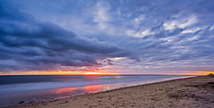 Sunset over West Beach looking towards Henley Beach Jetty (yecatsiswhere) Tags: ocean autumn sunset sea seascape reflection beach clouds sand jetty australia adelaide southaustralia hdr henleybeach