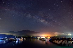 Starry night at Sun Moon Lake  (Vincent_Ting) Tags: morning sunset sky lake water clouds sunrise dawn pier taiwan galaxy   crepuscularrays  sunmoonlake milkyway                  vincentting