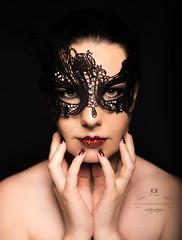 Masked (kwallace88) Tags: light red portrait white sexy girl beautiful beauty face fashion female pose studio model eyes nikon pretty mask makeup edit bowens mascaraed
