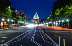 U.S. Capitol - Washington, D.C. (I.C. Ligget) Tags: city light building night us dc washington long exposure pennsylvania district trails columbia capitol ave lighttrails avenue