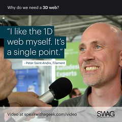 I like the 1D web myself. It's a single point. (SWAG - Speak With A Geek) Tags: 3d technology tech quote meme swag threedimensional 3dweb speakwithageek autodeskforgedevcon 3dwebfest