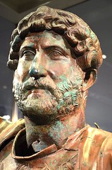 Ancient Rome. Bronze portrait of 14th Emperor Hadrian, 2nd century AD (mike catalonian) Tags: portrait male bronze head hadrian emperor ancientrome 2ndcenturyad antoninedynasty