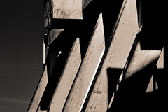 Dark tower (Beaust) Tags: city roof shadow sun white black building abandoned monochrome wall architecture contrast concrete big war industrial post empty pillar explosion apocalypse nuclear row line burn burnt radioactive column tall concept bomb drama blast burned fallout mushroomcloud detonation shockwave postnuclear disharmony
