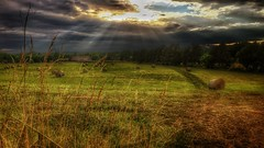 Rays over bales and barn (DaChu88) Tags: sunset sky field clouds barn farm bales sunrays iphone iphonography iphone6s