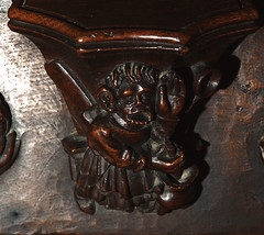 Minster in Thanet, Kent, St. Mary's church, choir, stalls, north side, misericord # 5, detail (groenling) Tags: wood uk greatbritain england bird kent swan hand britain cook carving pot supporter gb shovel minster stmaryschurch stalls woodcarving ladle thanet misericord