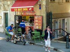 US Hot Dog (J Wells S) Tags: urban signs france restaurant cafe coke streetscene aixenprovence motorbike storefront cocacola hotdogstand urbanstreetscene ushotdog ushotdogs