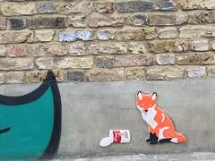 Fox & soup. Penge, London. June 2016. (atomic girl nyc) Tags: streetart london soup graffiti 3d fox campbells penge