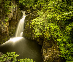 Peaceful. (Ian Emerson) Tags: trees water canon river walking landscape countryside waterfall yorkshire falls trail shrubs hoya ingleton ndx400