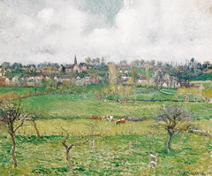 Vue de Bazincourt = View of Bazincourt (Grandiloquences) Tags: clouds landscapes countryside cows 19thcentury villages views impressionism fields pastures normandy steeples pissarro hamlets 1880s landscapepainters fruittrees frenchart landscapepaintings frenchcountryside camillepissarro northernfrance frenchartists frenchimpressionism frenchvillages frenchlandscapes frenchimpressionists frenchpainters frenchhamlets impressionistlandscapes bazincourt bazincourtsurepte frenchlandscapists