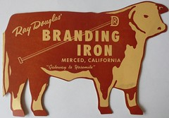 RAY DOUGLAS' BRANDING IRON MERCED CALIF (ussiwojima) Tags: california menu restaurant merced brandingiron raydouglas
