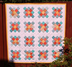 Bee's Knees (Crazy Quilt Lena) Tags: summer orange baby yellow crazy quilt handmade teal bees lena fabric laurie knees july2 2013 wisbrun