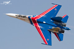 "Sukhoi Su-27UB Flanker 20 BLUE - The Russian Knights / ""Русские Витязи"" - Kecskemét International Airshow 2013 (BenSMontgomery) Tags: blue team hungary force display russia air airshow international knights bbc 20 russian magyar kecskemét the sukhoi su27 flanker su27ub 2013 russkiye русские vityazi poccn витязи"