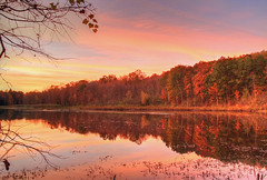 Autumn Glow (Matt Champlin) Tags: life autumn sunset lake reflection nature colors canon outdoors pond colorful glow quiet peace sca calming peaceful calm foliage environment tranquil pristine 2013 skaneatelesconservationarea