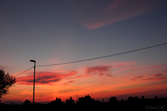 Contraluz en atardecer (Sara C.M) Tags: trees houses sunset sky luz silhouette clouds contraluz landscape atardecer daylight town twilight farola rboles village pueblo paisaje lampost cielo nubes silueta casas backlighting huerta canoneos550d efs1855mmisii