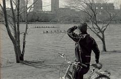 Rowing (dtanist) Tags: film boston analog river 50mm pentax kodak massachusetts charles esplanade bicyclist smc ricoh rowers bw400cn pentaxm xrm