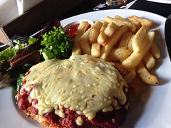 Chicken parma at Temperance Hotel in South Yarra (ultrakml) Tags: cameraphone food chicken dinner southyarra australia melbourne victoria temperance iphone parmagiana iphone5