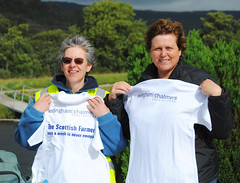 The wind was blowing by the time that Linda Tinson and Diana Thurston Smith from Ledingham Chalmers took off on their walking leg. Photo courtesy of Karen Carruth, The Scottish Farmer