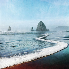 kissing the shoreline (1crzqbn) Tags: blue sunlight seascape color nature reflections square textures 7d haystackrock theneedles hss tinyhumans magicunicornmasterpiece 1crzqbn sliderssunday kissingtheshoreline