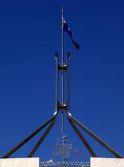 Australia's Current Parliament (jimbowen0306) Tags: flag housesofparliament australia parliament olympus spire canberra flagpole act e600 parliamentbuilding australiancapitalterritory canberraact olympuse600 australiascurrentparliament australiasparliament