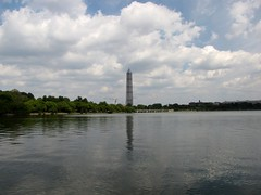 Washington Monument in scaffolding, viewed from across the Tidal Basin near the Martin Luther King Jr. Memorial (SchuminWeb) Tags: park west monument water metal stone mall river franklin dc washington earthquake construction memorial king day scaffolding martin ben nps stones district steel web parks jr columbia basin roosevelt september national repair obelisk junior damage restored scaffold potomac service restoration daytime obelisks monuments washingtonmonument nationalparkservice georgewashington tidal mlk fdr restoring luther delano westpotomacpark scrim 2013 schumin schuminweb