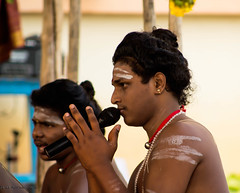 """""""Don't waste urself in rejection,nor bark against the bad but chant the beauty of the good""""...Ralph Waldo Emerson (Amudha HariHaran) Tags: india priest hymn chanting amudha mantras hindurituals 60d kumbabhishekam"""