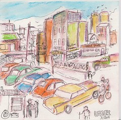 UNCLE FRANK'S AUTOS FOR SALE, TRENTON, MISSOURI 1960, Watercolor by R.L.Huffstutter (roberthuffstutter) Tags: watercolor 60s midwest forsale drawings impressionism 50s 1960s watercolors 9thstreet sketches oldcars 1960 watercolorpencils usedcars smalltowns grundycounty carlots 60scars worldzbestfotoz northmissouri trentonmissouri huffstutter americansnapshots robertlhuffstutter watercolorsbyhuffstutter originalsavailable unclefrankandauntruby maidritenearby